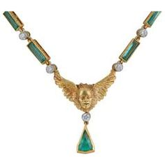 Gold Cherub with Wings Emerald and Diamond Necklace.