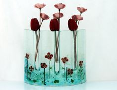 Fused glass Curved vase dwvided to three vases  by virtulyglass, $54.00