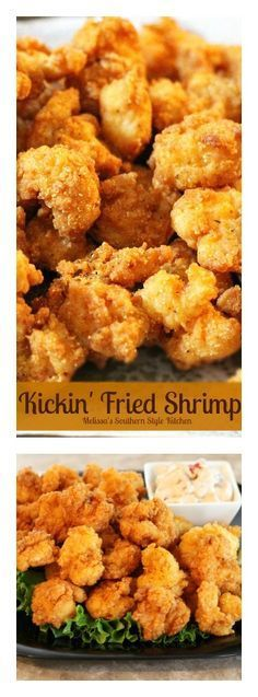 Shrimp Recipes These Kickin& Fried Shrimp are crispy and golden with a bit of a kick! Fried Shrimp Recipes, Shrimp Dishes, Fish Dishes, Fish Recipes, Seafood Recipes, Chicken Recipes, Cooking Recipes, Healthy Recipes, Deep Fried Shrimp