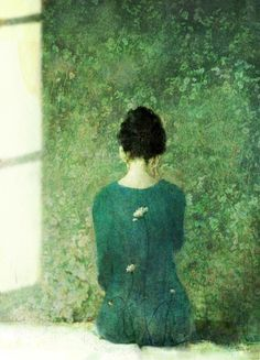 Violetno --- Love the shades of green in this. Art And Illustration, Figure Painting, Painting & Drawing, Kunst Online, Art Graphique, Figurative Art, Shades Of Green, Love Art, Oeuvre D'art