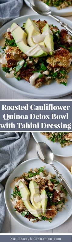 A detox bowl made with roasted cauliflower, quinoa, kale and tahini dressing - Recipe on NotEnoughCinnamon.com #vegan #glutenfree #cleaneating
