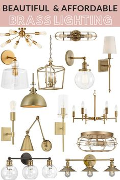 Beautiful and affordable brass lighting perfect for adding a touch of vintage charm to your home! Modern Farmhouse Lighting, Affordable Lighting, Cheap Light Fixtures, House Lighting Fixtures, Brass Bathroom Lighting, Home Lighting, Brass Lighting, Affordable Pendant Lighting, Brass Kitchen Lighting