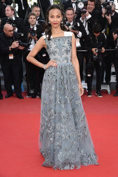 Zoe Saldana in Valentino at Cannes