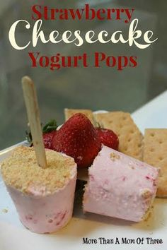 Strawberry Cheesecake Yogurt Pops are the perfect Summer Dessert or for Valentine's Day!
