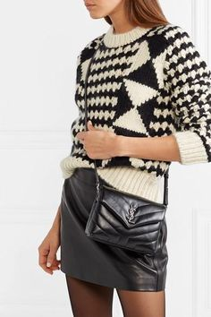 Black leather (Calf) Snap-fastening front flap Weighs approximately Made in Italy Trendy Outfits, Cute Outfits, Fashion Outfits, Fashion Clothes, Yves Saint Laurent, Wolford Tights, Ysl Bag, Trends, Models