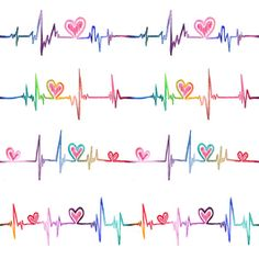 """Rainbow Love by Bui Thuy An - This is a colorful textile design created by watercolor whimsical drawings of heart rate. By doing so, I want to created playful version of """"feel the love in every single heartbeat""""PDF file with elements in separate layers and the design in different colorway are also provided here for Extended License"""