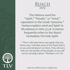 TLV Glossary Word of the Day: Ruach #tlvbible