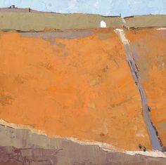 Dinah K. Worman, White Barn, Orange Field, oil, 12 x 12.