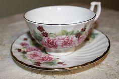 Vintage Royal Kendal English Pink Carnations Teacup & Saucer Set