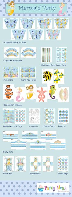 Mermaid Party Printables Pack by PartyIdeasUK on Etsy, £12.95