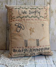 Handmade Primitive Live Simply Sheep Pillow