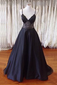 A-line Spaghetti Straps Open Back Sweep Train Black Prom Dress with Beading