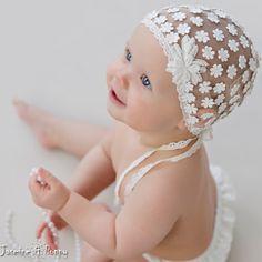 Christening hat baptism bonnet  christening by JasmineAndPoppy