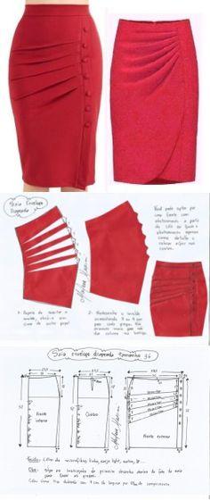 """¡El patrón de la falda con el cortinaje! // Тая😍😻ღ•°˜""""*°•.♥.• Туман✔"""