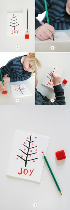 A kid-friendly holiday project: Eraser Stamp Christmas Tree Cards.