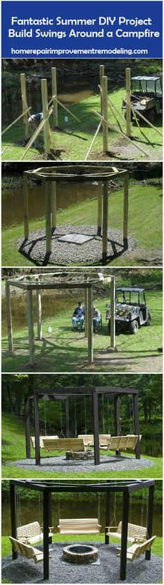 Fantastic Summer DIY Project – Build Swings Around a Campfire - http://homerepairimprovementremodeling.com/2013/09/fantastic-summer-diy-project-build-swings-campfire/