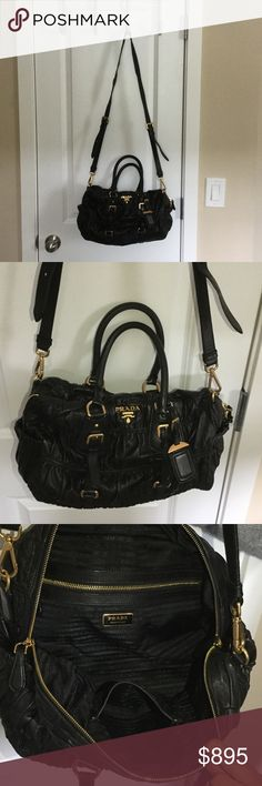 AUTHENTIC Prada saffiano handbag Black, gold hardware. In good condition, only sign of wear is on inner handle. Prada Bags