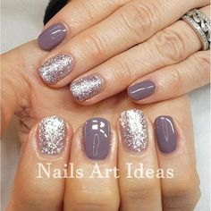 60 Stylish Nail Designs For Short Nails Do you need some design inspiration for your short nails? Don't worry, we provide you with security. Fashionable and interesting nail designs are not only reserved for long nails, we promise! Sns Nails Colors, Toe Nail Color, Nail Polish Colors, Purple Nails, Glitter Nail Polish, Toe Nail Polish, Gel Toe Nails, Purple Glitter, Gel Color