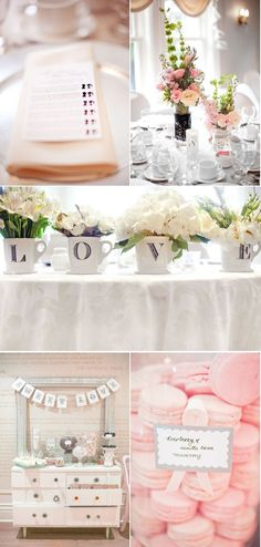 I really like the coffee mugs spelling LOVE with flowers as a display for sweet heart table