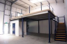 You can increase your floor space easily by creating a mezzanine. The mezzanine can be created in ma. Warehouse Design, Warehouse Loft, Warehouse Office Space, Shop Buildings, Steel Buildings, Office Buildings, Home Design, Design Studio, Design Design