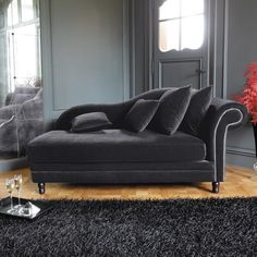 Chaise longue grigia in velluto