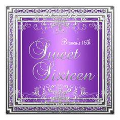 Sweet Sixteen 16 Birthday Purple Silver Teen Girl Custom Invite