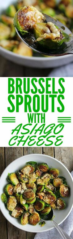Sautéed Brussels Spouts with Asiago cheese will blow your mind. These are cooked to perfection…vibrant green, slightly crunchy, meaty with salty gooey Asiago cheese. http://tasteandsee.com