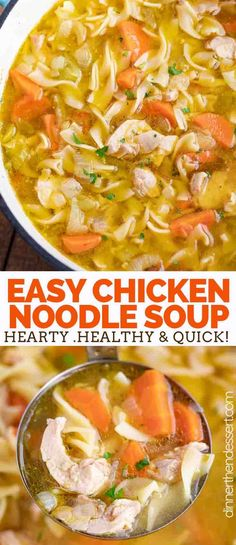 Chicken Noodle Soup is a classic soup recipe made with chicken carrots celery onion and egg noodles in a seasoned broth ready in under 45 minutes! Chicken Soup Recipes, Easy Soup Recipes, Cooking Recipes, Easy Chicken Noodle Soup, Noodle Soups, Recipes With Egg Noodles, Chicken And Egg Noodles, Simple Chicken Soup Recipe, Recipe For Chicken Noodle Soup