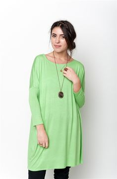 Shop latest trends apparels from our wide range of dresses, tops, skirts, jumpers, cardigans and more at best prices. Tunics Online, Online Clothing Stores, Dresses Online, Tunics For Sale, Basic Leggings, Green Tunic, Basic Tops, Dark Denim, Everyday Look