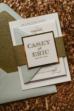 light blue gold wedding invitations - Google Search