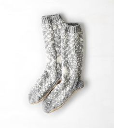 Fair Isle Slipper Sock//