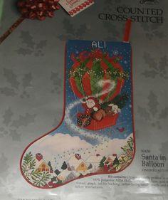 NIP 1989 Something Special Needlepoint Kit Christmas Stocking Santa in Balloon