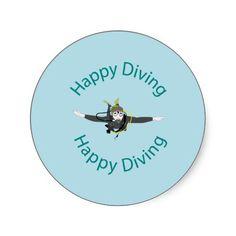 #Happy #diving #round #sticker