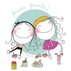 Forever friends by misspink. www.misspink.es Boy Illustration, Illustrations, Old Friendships, Lovely Creatures, Happy B Day, Stick Figures, Step By Step Drawing, Cute Images, Painting For Kids