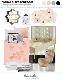 Find inspiration to design a delightful floral bedroom for your kids using large crepe paper flowers for wall art. Find ideas for furniture, decor and more. Decorating Toddler Girls Room, Kids Decor, Girls Bedroom, Bedroom Ideas, Nursery Ideas, Bedroom Decor, Floral Bedroom, Organic Cotton Sheets, Big Girl Rooms