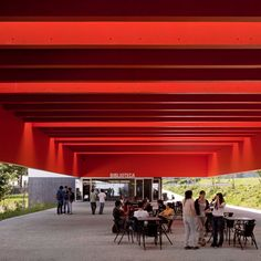 The covered terrace separates two new buildings designed by Portuguese architect Ricardo Bak Gordon at the Garcia D'Orta Secondary School.