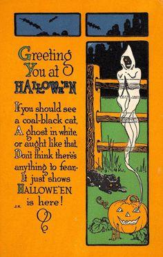 Vintage Holidays Halloween Poems, Vintage Halloween Images, Retro Halloween, Halloween Night, Vintage Holiday, Holidays Halloween, Spooky Halloween, Halloween Crafts, Happy Halloween
