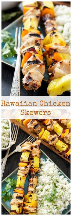 Hawaiian Chicken Skewers with Cilantro Coconut Rice | Grilled Chicken and pineapple are a delicious Hawaiian combination in these easy to make skewers!