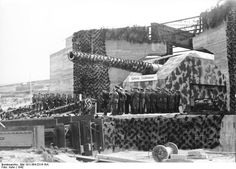 A 40.6 cm 'Adolf' coastal defense gun of the Battery Lindemann, France, 1942.