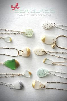NEW! Sea Glass & metallic necklaces from JewelryByMaeBee on #Etsy. Ready to ship for Christmas! www.jewelrybymaebee.etsy.com