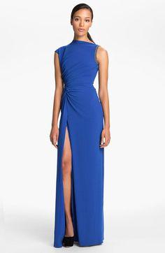 Halston Heritage Ruched Waist Gown in Blue (bright cobalt)