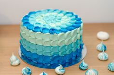 Vanilla Cake with blue frosting