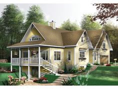 Archibald Creek Cottage Home  from houseplansandmore.com / Wrap around porch in front & sides, second story w/ 2 bdrms & bth, walk out basement with 2 bdrms & bth, 3 car garage with apt above.