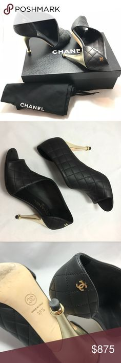 "Authentic Chanel Quilted Nautical Peep Toe Pumps 100% authentic, worn once, very gently! Black calfskin leather, 4"" gold, slightly textured leather covered heels with loop accent, classic Chanel quilting and CC logos, fits slightly narrow, box and dustbags included CHANEL Shoes Heels"