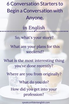 """English Vocabulary and Conversation. Make conversations in English by choosing common questions to start conversations AND prepare your own answers to these questions. Most of the time, when we ask someone a question, they will answer it and then say, """"What about you?"""" It makes conversations so much easier when you're prepared and you know what you want to say. Get more useful questions and tips in my online lesson…"""