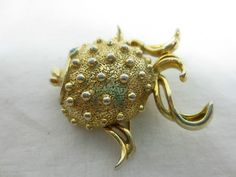 Vintage Fuller Brush Puffer Fish Solid Perfume Compact Brooch Pin Blue RS Eye