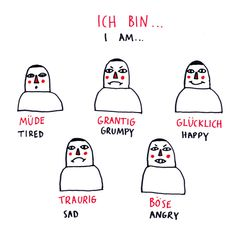 Deutsch Doodles - how to express emotions in german, part 1 - German Grammar, German Words, German Language Learning, Spanish Language, Dual Language, Study German, Deutsch Language, Teaching French, Teaching Spanish