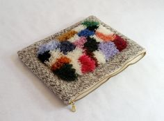 Fuzzy rug weaving tablet case hand woven clutch by HayleyFJames