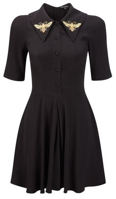 Lovely black dress, perfect for accessorizing! I love the bee pins, we must save the bees, seriously!