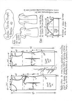 Blazer spencer sem gola - DIY - molde, corte e costura - Marlene Mukai Dress Sewing Patterns, Blouse Patterns, Sewing Patterns Free, Free Sewing, Clothing Patterns, Sewing Tutorials, Sewing Projects, Pattern Sewing, Make Your Own Clothes